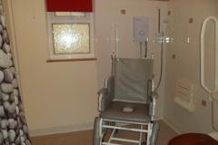 A reclining shower chair