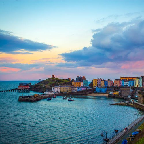 A view over Tenby's colurful harbour and waterfront